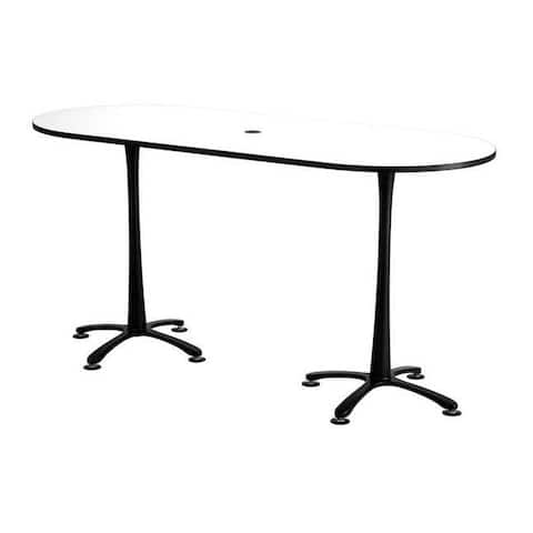 """Safco Cha-Cha 84"""" x 36"""" Bistro Height Racetrack Table with Designer White Top and Black Base"""