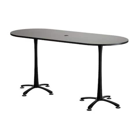 """Safco Cha-Cha 84"""" x 36"""" Bistro Height Racetrack Table with Asian Night Top and Black Base"""