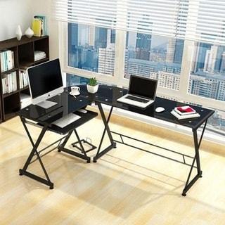 Porch & Den Champlain Glass L-shaped Laptop Computer Desk w/Keyboard Tray
