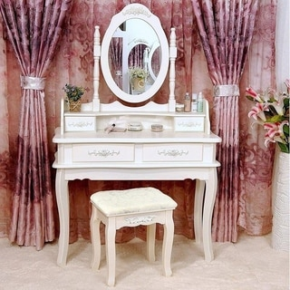 Rotation Removable Mirror Dressing Vanity Table Makeup Desk with Stool White
