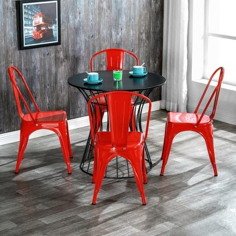 Industrial Style Iron Patio Dining Chairs Stacking Chair (Set of 4)