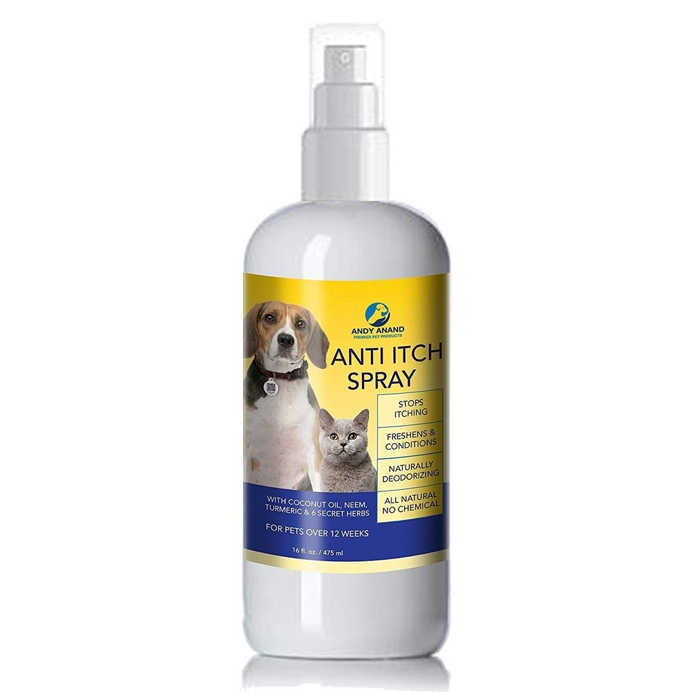 Andy Anand Anti-Itch Oatmeal Spray for Dogs and Cats for Allergic Damaged Skin Neem, Coconut, Herbs, and Turmeric Non Toxic