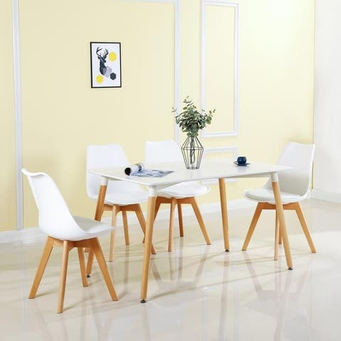 Dining Room Chairs Simple Plastic Chair with Wooden Base Set of 4