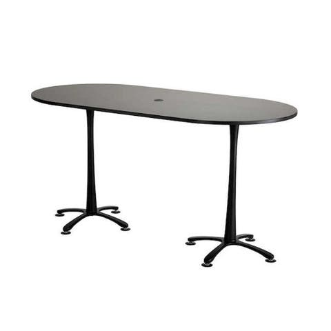 """Safco Cha-Cha 84"""" x 42"""" Bistro Height Racetrack Table with Asian Night Top and Black Base"""