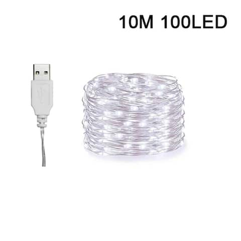 10m String Lights 100LEDs USB Charging Waterproof Copper Wire Fairy Lights for Bedroom Wedding Festival Decor White/Warm White