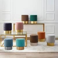 Art-Leon Round Velvet Ottoman Upholstered with Plating Base, Single