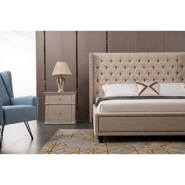 Shop Traditional Beige Upholstered Nailhead Platform Bed On Sale Overstock 28000904 Queen