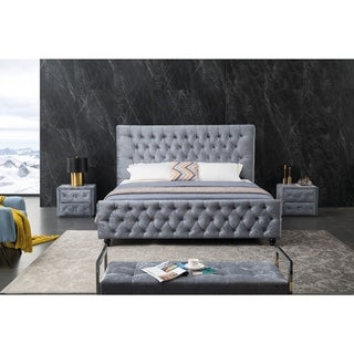 Contemporary Grey Upholstered Tufted Platform Bed