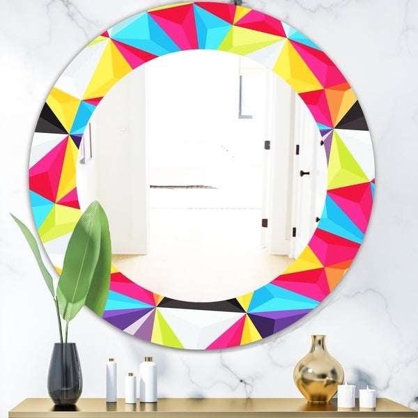 Designart 'Capricious Colorfields 1' Modern Mirror - Frameless Oval or Round Wall Mirror - Red