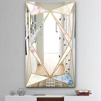 Designart 'Marbled Diamond 2' Mid-Century Mirror - Modern Wall Mirror - Gold