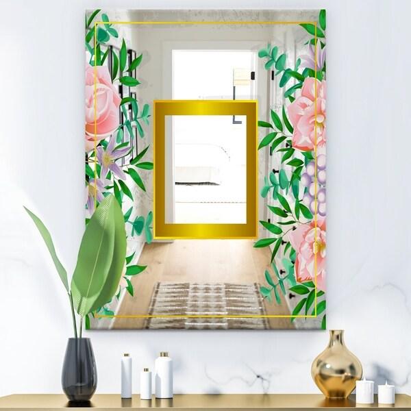 Designart 'Efflorescent Gold Pink 10' Glam Mirror - Modern Wall Mirror