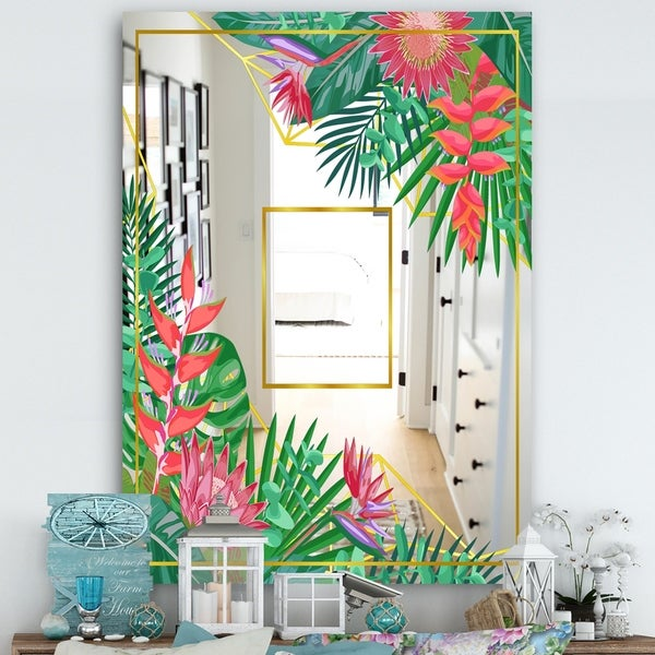 Designart 'Efflorescent Gold Pink 14' Cabin and Lodge Mirror - Vanity Mirror - Green