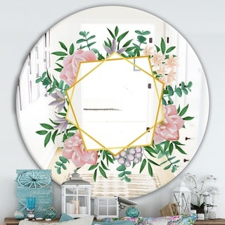 Designart 'Efflorescent Gold Pink 2' Cabin and Lodge Mirror - Oval or Round Mirror