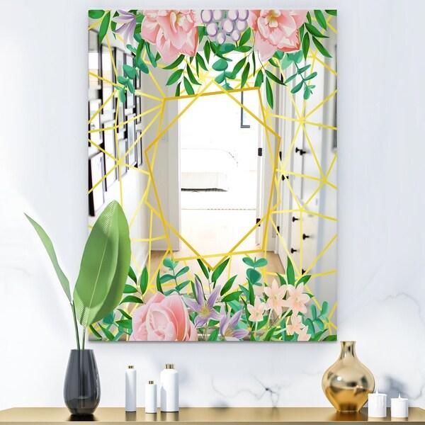 Designart 'Efflorescent Gold Pink 8' Modern Mirror - Contemporary Wall Mirror