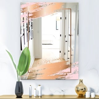 Designart 'Copper Minimal 5' Glam Mirror - Modern Accent or Vanity Mirror - Gold