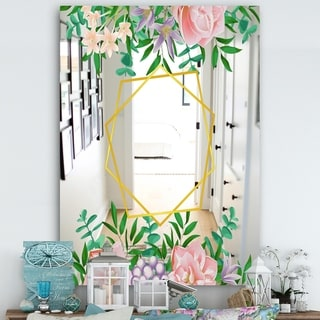 Designart 'Efflorescent Gold Pink 9' Cabin and Lodge Mirror - Wall Mirror