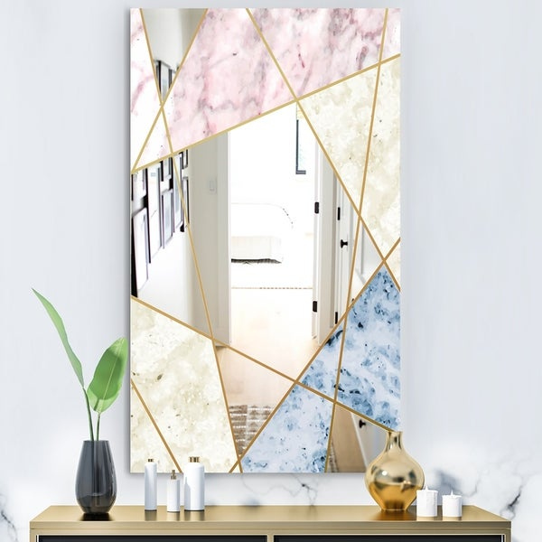 Silver Orchid Boyd 'Marbled Diamond 3' Mid-Century Mirror - Gold