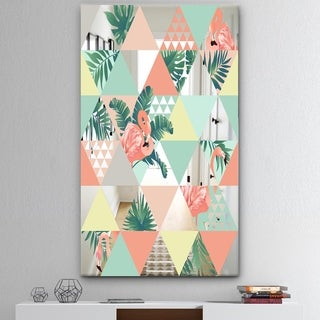 Designart 'Tropical Mood Pink 2' Mid-Century Mirror - Tropical Wall Mirror