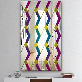 Designart 'Purple Diamonds' Mid-Century Mirror - Decorative Wall Mirror - Blue