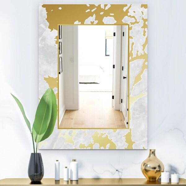 Designart 'Capital Gold Botanical Bliss 8' Glam Mirror - Frameless Decorative or Bathroom Mirror