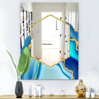 Designart 'Marbled Blue 3' Glam Mirror - Modern Decorative Mirror - Gold