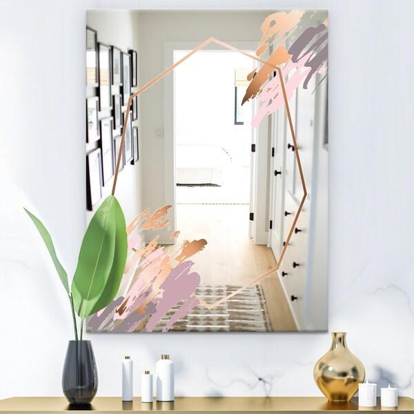 Designart 'Copper Minimal 2' Glam Mirror - Vanity or Decorative Wall Mirror - Gold