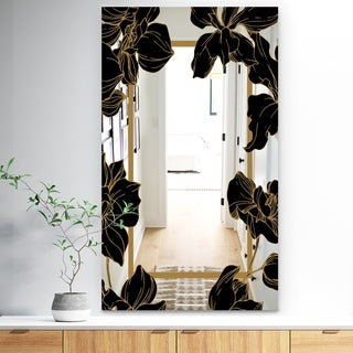 Designart 'Gold Botanical Obsidian 7' Traditional Mirror - Modern Bathroom Mirror or Accent Wall Mirror - Black