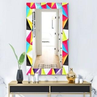 Designart 'Capricious Colorfields 1' Modern Mirror - Frameless Wall Mirror - Red