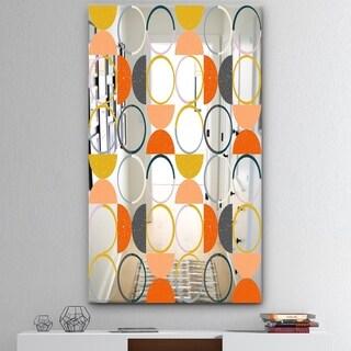 Designart 'Circular Rhythm 2' Mid-Century Mirror - Modern Accent Mirror - Red