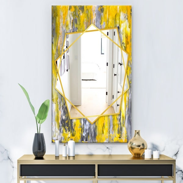 Designart 'Grey and Yellow Abstract Pattern' Modern Mirror - Frameless Contemporary Wall Mirror - Grey