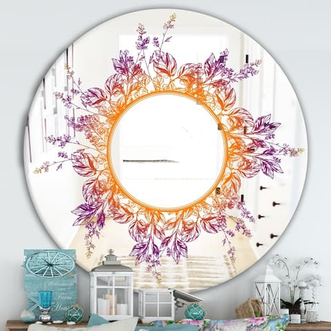 Designart 'Purple and Orange Leaves' Farmhouse Mirror - Frameless Round Oval Wall Mirror - Purple