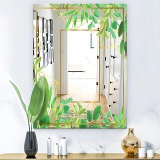 Designart 'Efflorescent Gold Green 3' Glam Mirror - Accent Art Mirror