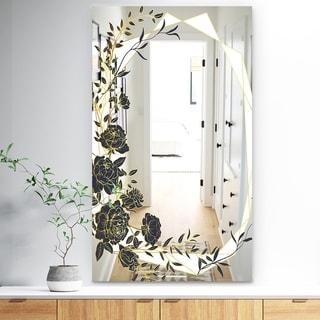 Designart 'Gold Botanical Obsidian 1' Traditional Mirror - Bathroom Wall Mirror - Black