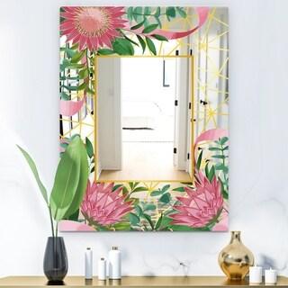 Designart 'Efflorescent Gold Pink 4' Modern Mirror - Wall Mirror