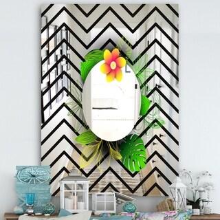 Designart 'Elementary Botanicals 9' Cabin and Lodge Mirror - Accent Wall Mirror - Black