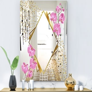Designart 'Efflorescent Gold Pink 3' Glam Mirror - Wall Mirror