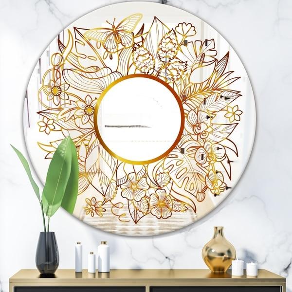 Designart 'Tropical Gold Composition 3' Glam Mirror - Oval or Round Decorative Mirror