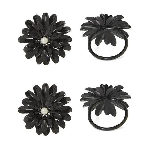 Flower Napkin Rings Set of 4 with Pearl