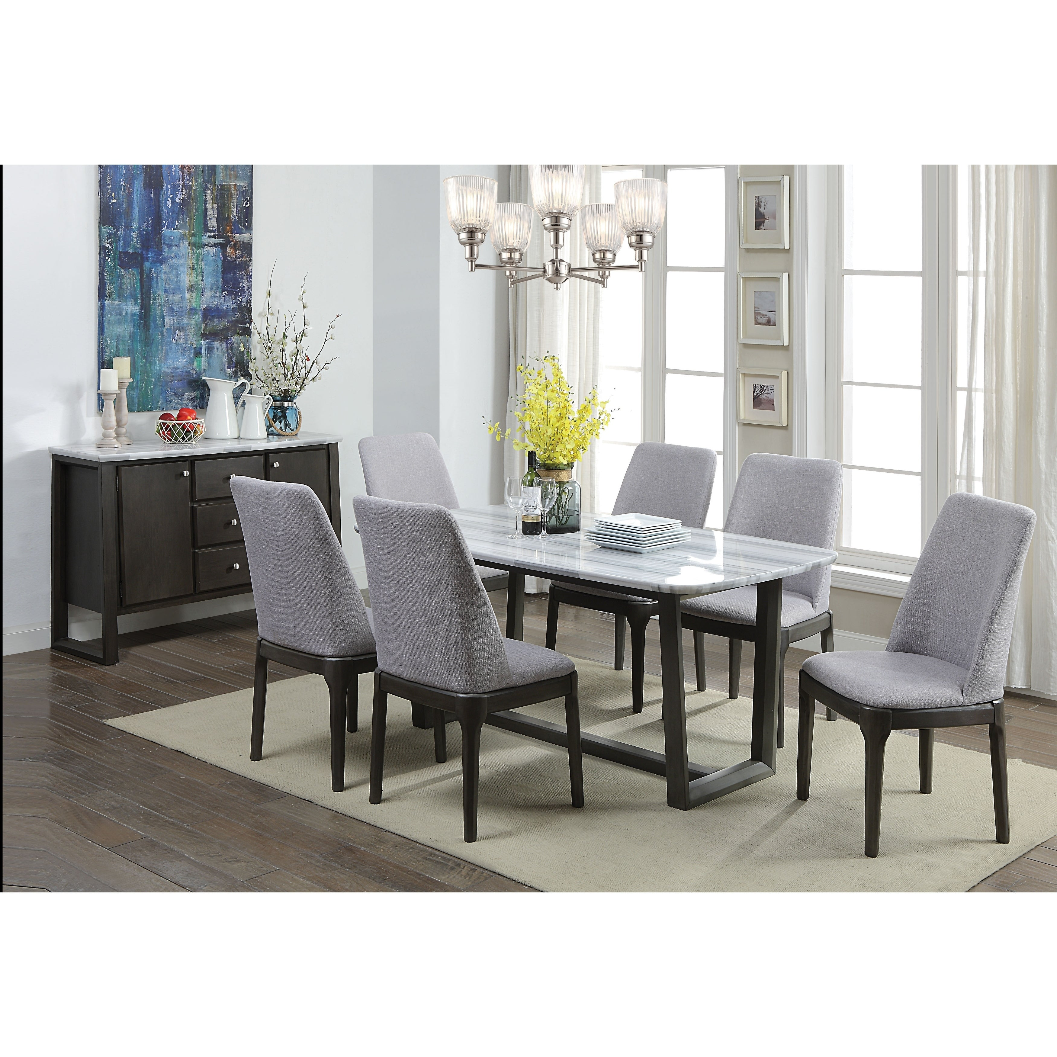 Marble Top Dining Table With Poplar Wood Trestle Base Brown And White On Sale Overstock 28001595