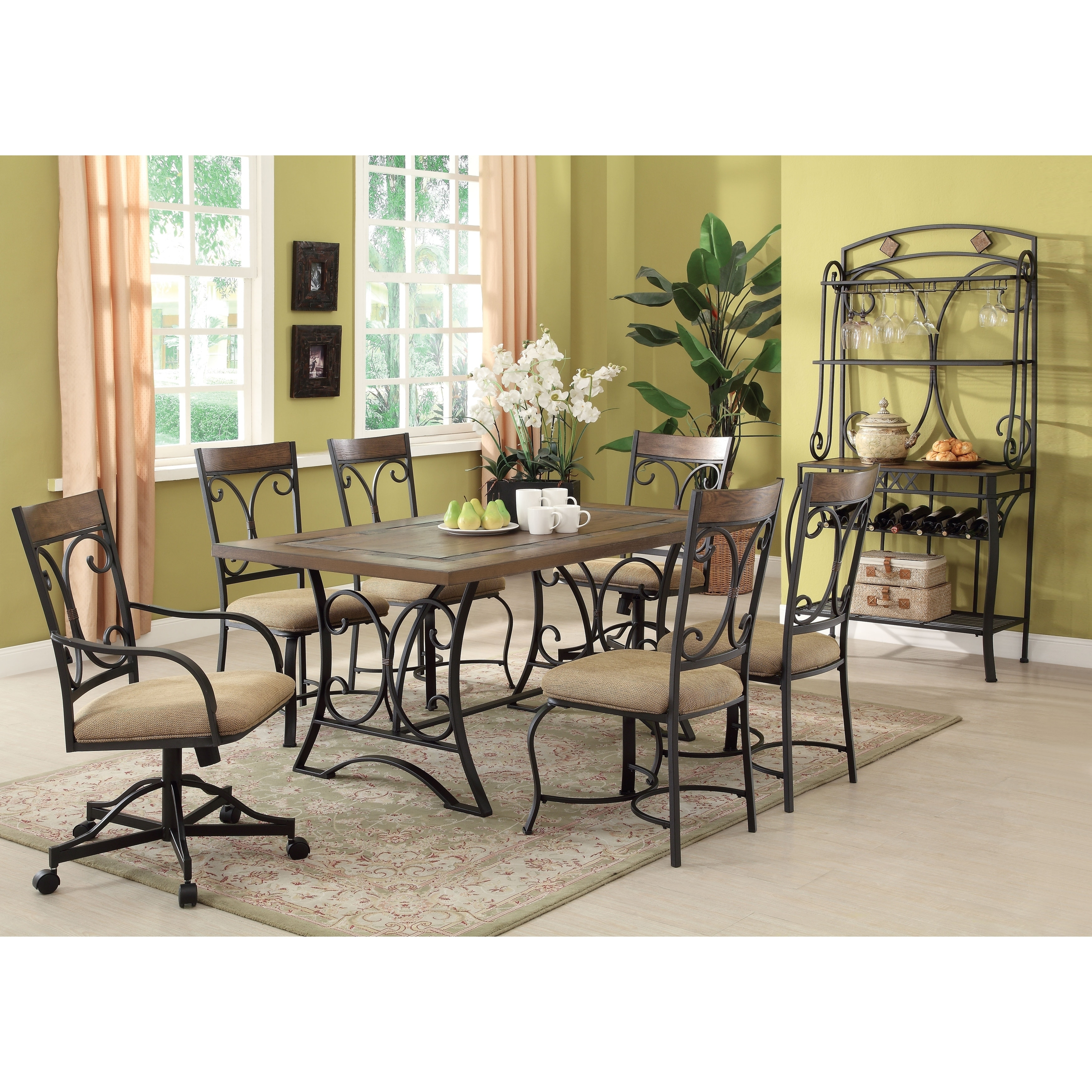 Wood And Metal Dining Table With Inlaid Slate Border Black And Brown Overstock 28001605