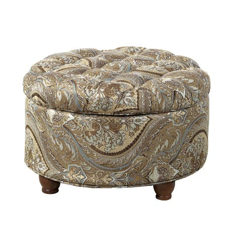 Paisley Patterned Fabric Upholstered Wooden Ottoman with Hidden Storage, Multicolor