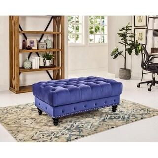 Gracewood Hollow Sehic Velvet-upholstered Wood Ottoman