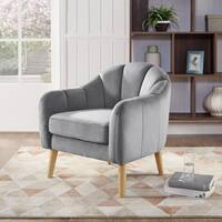Silver Orchid Buddy Velvet Barrel Chair