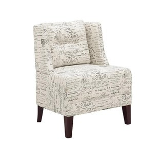 Copper Grove Lens Off-white Fabric and Wood Wingback Chair