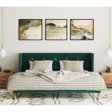Carson Carrington Uddesbo Modern Green Fabric & Walnut Bed