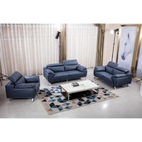 Navy Blue Top Grain Leather Contemporary Chair