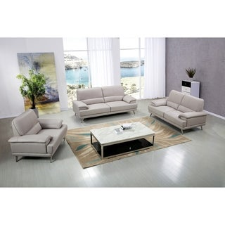 Modern Upholstered Pillow Top Leather Sofa