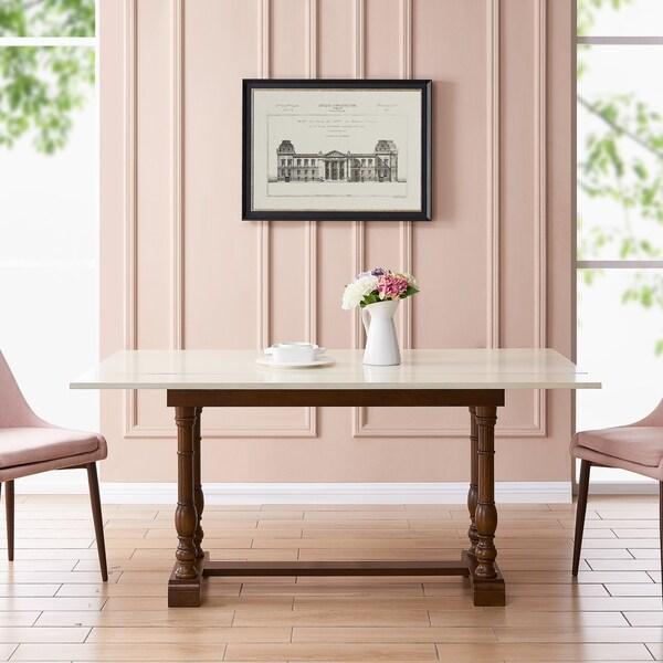 Eddlewood Farmhouse Folding Trestle Console to Dining Table - Dark Tobacco/Ivory