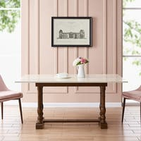 Harper Blvd Eddlewood Farmhouse Folding Trestle Console to Dining Table - Dark Tobacco/Ivory
