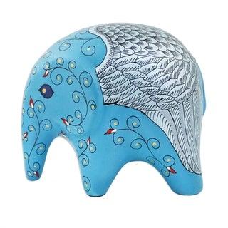 Handmade Flying Elephant Ceramic Figurine (Thailand)